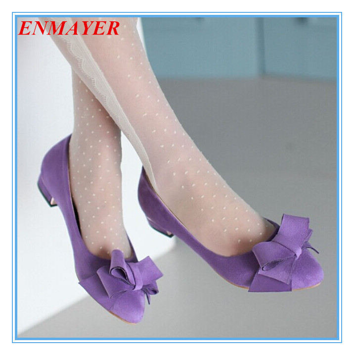 ENMAYER Low Casual Round Toe bow Red, pink, black, purple heel High shoes Women Flock platform pumps new size 34-43 girls shoes