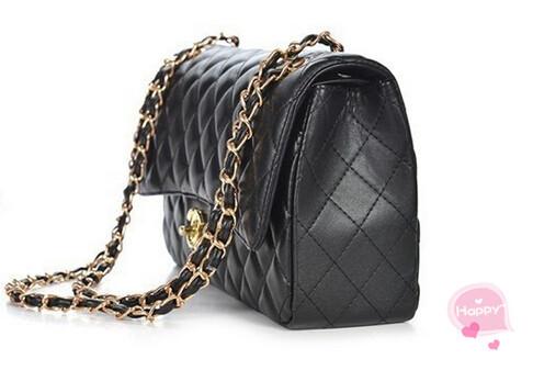 High Quality Fashion Leather Black Brand Logo Bag Women Handbag Wholesale and Dropshipping(China (Mainland))