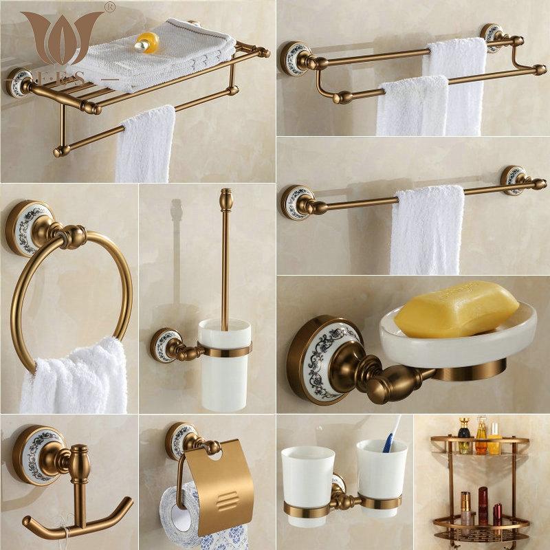 410AAP Series Golden Polish Bath Hardware Sets Aluminum & Porcelain Base Towel Rack Paper Holder Soap Dish Basket Shelf Hooks(China (Mainland))