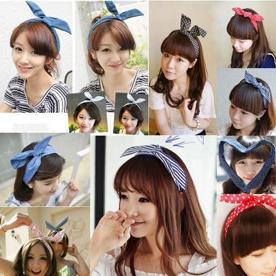 288South Korea's small towel long scarf rabbit ears hair bandage on head 19 kinds of styles(China (Mainland))