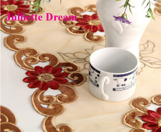 European table runner embroidery elegant tablecloth organza fabric embroidered rustic table runners wedding decoration cover