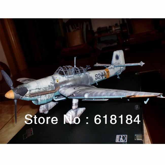Free shipment Paper Model airplane 43cm Wingspan 1:33 World War II German Ju-87 D-3 Stuka Dive Bomber military craft 3d puzzles(China (Mainland))