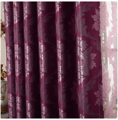 Thickened continental level high quality Jacquard shade cloth curtain living room bedroom deep purple(China (Mainland))