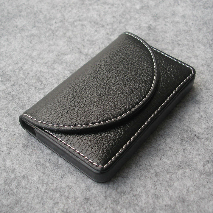 unisex casual Magnetic lock leather bussiness namecard bank ID card box case holder organizer wallet gift litchi black 1196(China (Mainland))