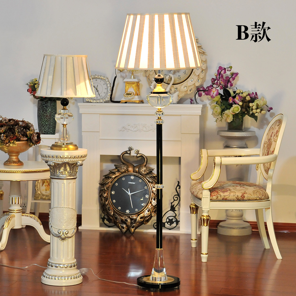 luxury fashion copper crystal floor lamp led bedroom floor