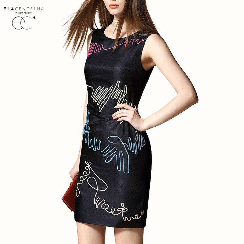ElaCentelha Brand Dress Summer Women Asymmetrical Embroidery Mini Dress Casual Sleeveless Bandage Bodycon Women's New Dresses