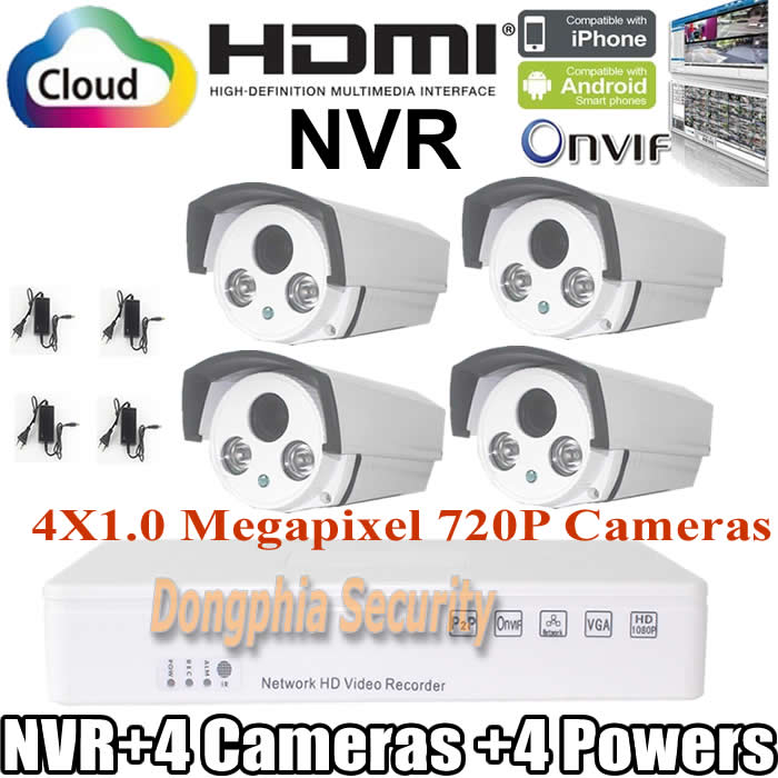 Home 4CH CCTV Security System 4 channel NVR 720P 1.0MP outdoor bullet Camera kit Color Video Surveillance System for IP cameras<br><br>Aliexpress