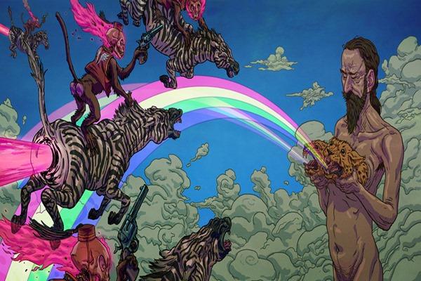 psychedelic hippie fantasy dark skull zebra monkey Home Decoration Canvas Poster