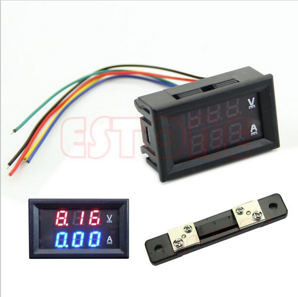DC 100V 100A Digital Voltmeter Ammeter with 100A/75mV Shunt 2in1 DC Volt Amp Dual Display Panel Meter Red Blue LED(China (Mainland))