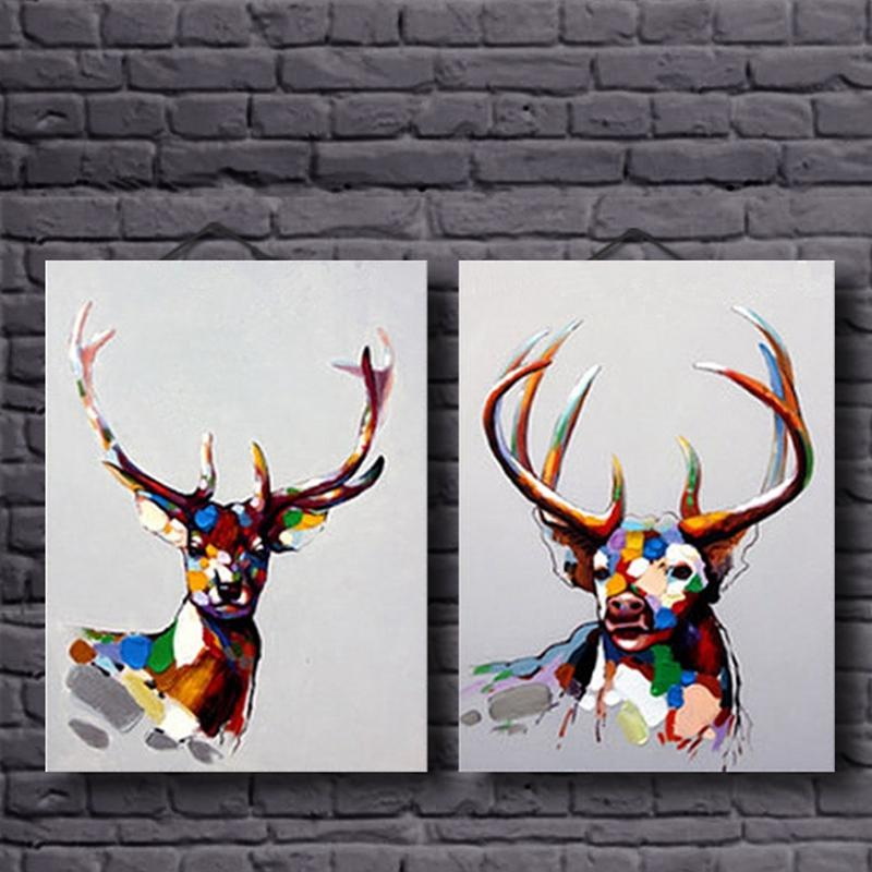 100% Hand Painted Group 2 Panels Modern Animal Beautiful Colorful Deer Heavy Texture Oil Painting on Canvas No Framed(China (Mainland))