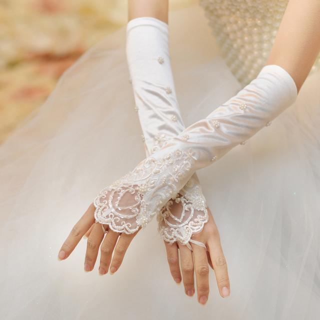 Новый Дизайн Стиль Пальцев Бисера Локоть Длина Свадебные Аксессуары Свадебные Перчатки