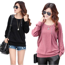 NEW 2014 European Autumn Winter Elegant Woman's Tops O-Neck Long Batwing Sleeve Shirt Women Blouse With Button 3 colors