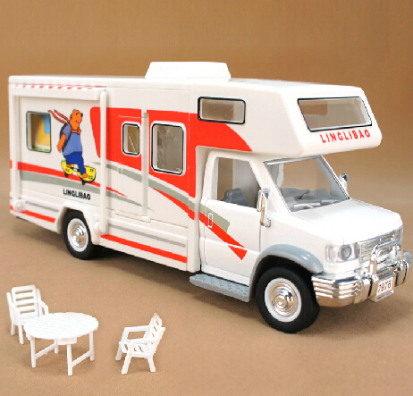 Free shipping Diy assembling rv travel with furniture plain alloy bus model toy /baby toy