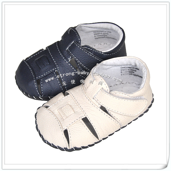 Genuine leather soft outsole baby shoes summer sandals toe cap covering male baby shoes 1