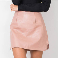 2016 New Arrival OL PU Leather Skirts High Waist Sexy Vintage A-Line Office Skirts Womens Solid Mini Bodycon Skirt Plus Size(China (Mainland))