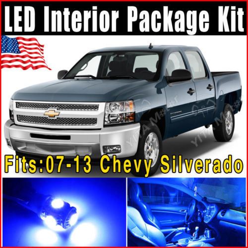 Free Shipping Car led Lights 10pcs Ultra BLue LED Interior Light Bulb Package Kit 2007-2013 for Chevy Silverado Wholesale Price(China (Mainland))