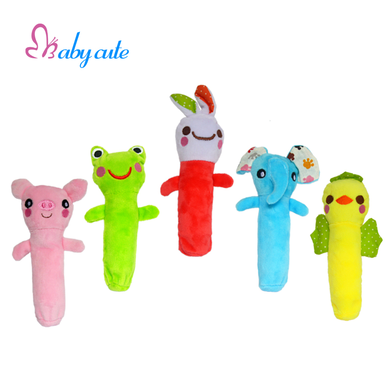 Baby Animal Hand Bells Rattle Plush Toys With Bell Ring & BB Squeake Environment Material Colorful Design Newbron Gift(China (Mainland))