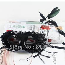 2012 popular Venize handmade black mask flannel surface channeling green cloth and feather mask(China (Mainland))