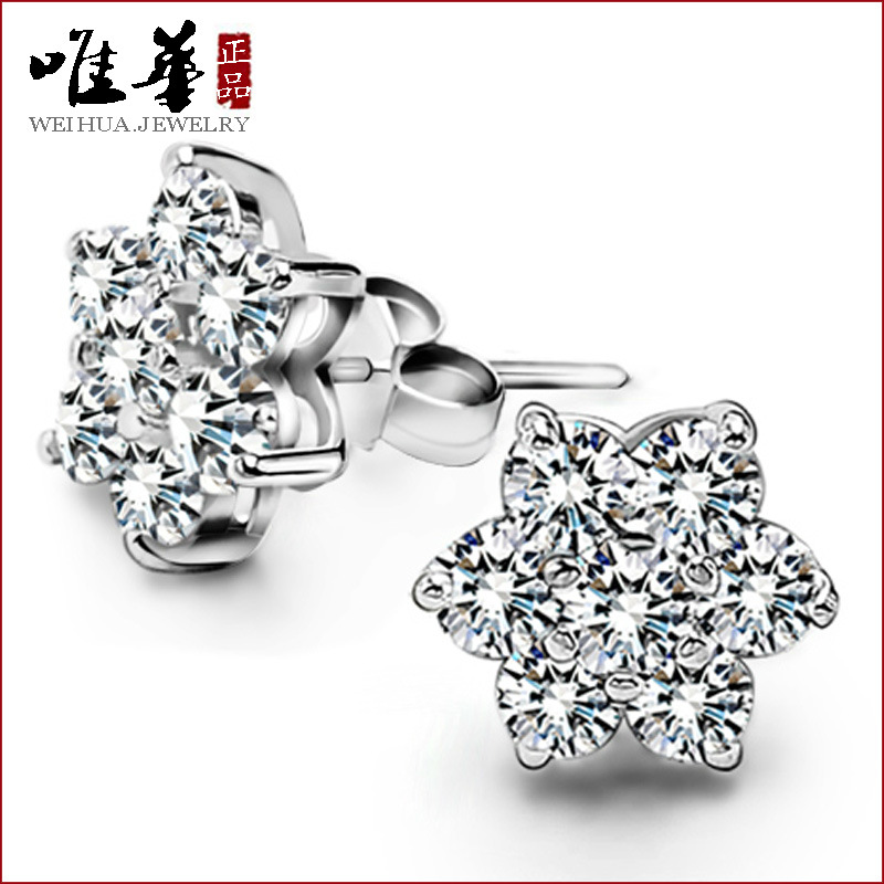 2015 New Earrings For Brinco Brincos Holesale Korean Version Of 925 Snowflake Earrings Of Spot Sales Classic Sterling Jewelry(China (Mainland))