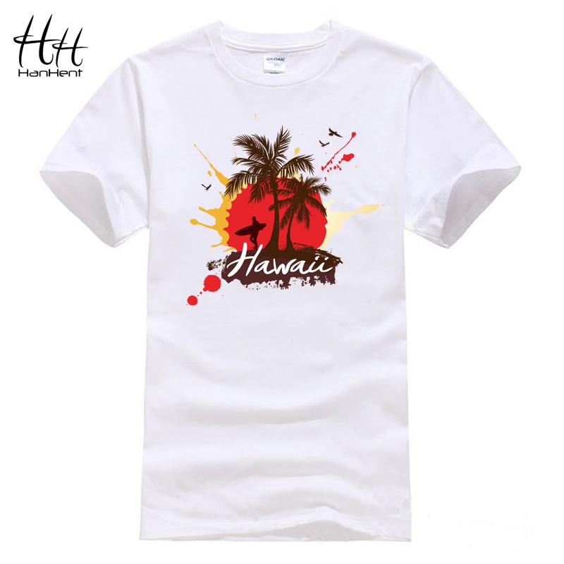 Hanhent Hawaii Coconut Trees Man T Shirts Summer Short Sleeve Cotton Tshirts Casual Streetwear Fashion Skateboard Men T-shirts(China (Mainland))