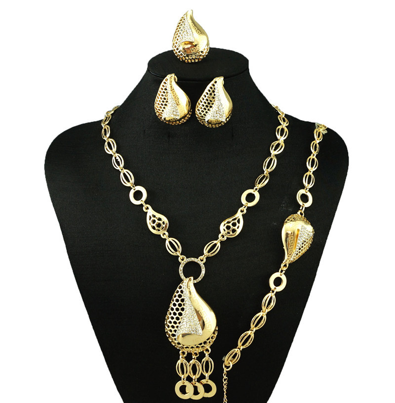 beautiful fashionable gold jewelry set african wedding party big sets bracelet necklace earring ring plated new design must have(China (Mainland))