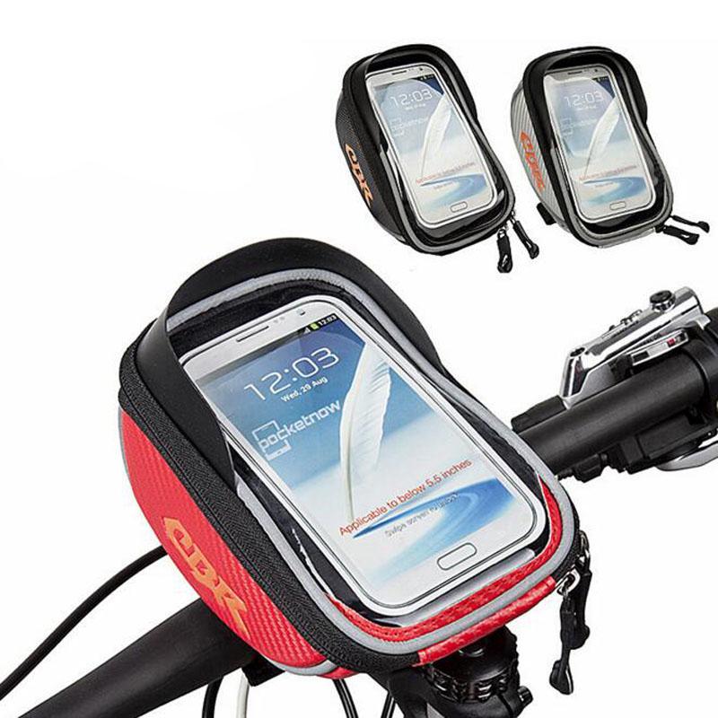 New Outdoor Waterproof Road MTB Cycling Frame Front Tube Bag Bike Package Bags Handlebar 5.5 inch Phone Bicycle Bag(China (Mainland))