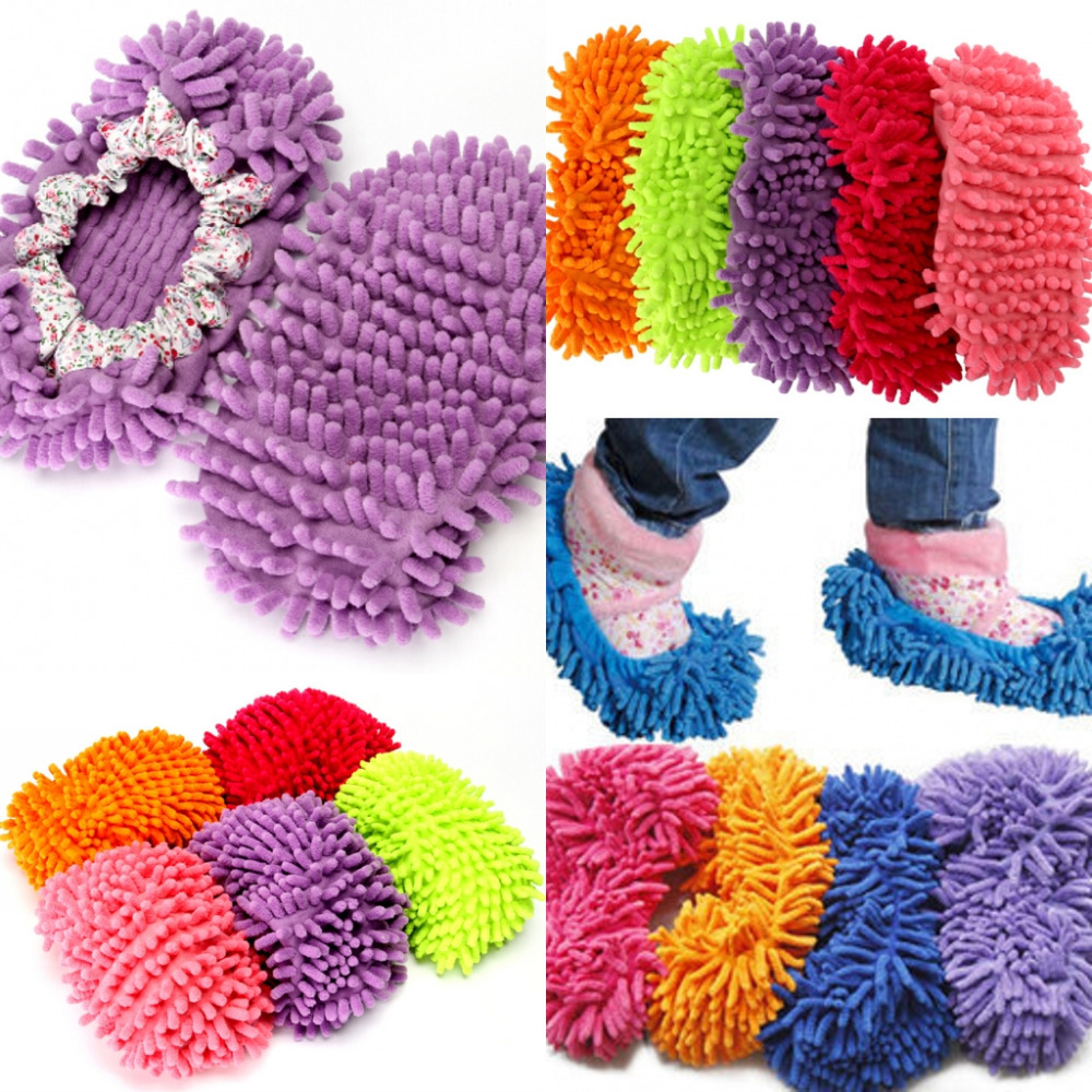 Free shipping One pair Chenille shoes cover lounged grazing slippers set mop wigs clean shoes cover single Lazy Shoe covers(China (Mainland))