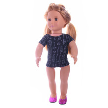 Buy New Style Baby Doll Clothes Accessories Derss Fit 18 Inches American Girl Doll Black T-shirt n926 for $1.39 in AliExpress store