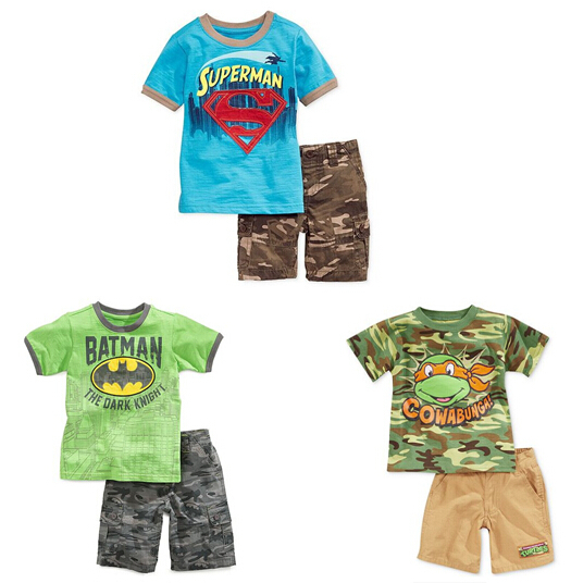 Retail One Piece Batman Superman boys boy kids t shirt top + shorts pants outfit summer clothing set suit sets 5 sets/lot(China (Mainland))