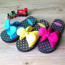 Sweet Summer Bow Bowtie Butterfly Dot EVA Beach Home Women Flat  Slipper Female Sandals Blue Red Yellow Green Large Size S M L(China (Mainland))