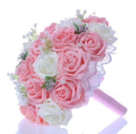 Custom Artificial Natural Wedding Flowers Handmade Bridal Bridesmaid Bouquets Alternative Keepsake Wedding Bouquet(China (Mainland))