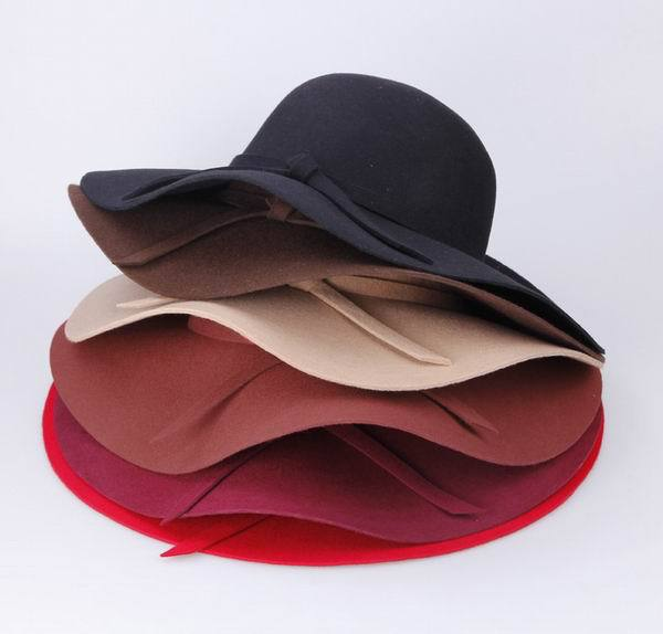 Hot Sale Stylish Color Choose Hats For Women Wide Brim Wool Felt Bowler Fedora Floppy Cloche Belt Hat Caps Free Shipping(China (Mainland))