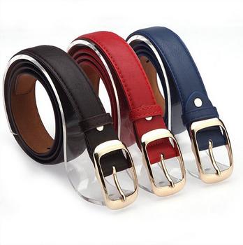 2017 Women Fashion Belts Cinturones Mujer  Ladies Faux Leather Metal Buckle Straps Girls Fashion Accessories