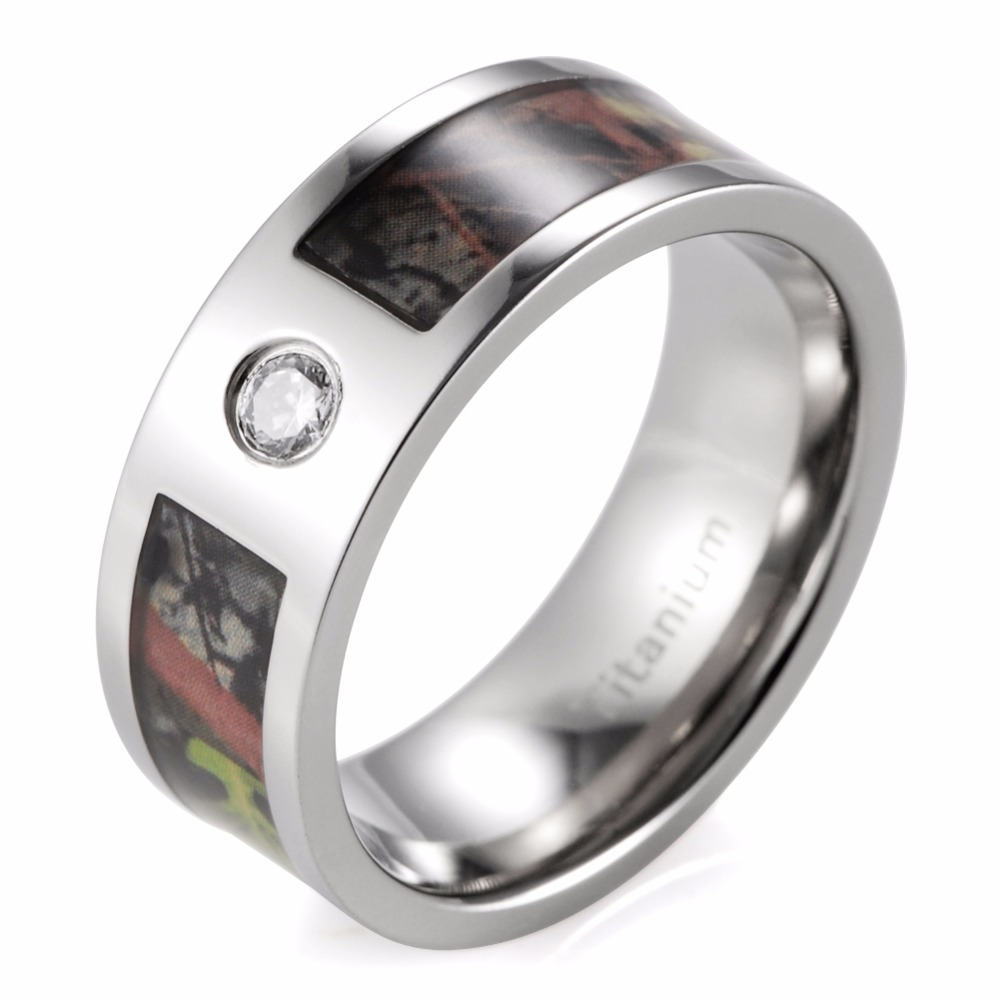 8mm Men's Camo Wedding Ring Titanium Mossy Tree Camo CZ inlay Outdoor Engagement Ring for Men(China (Mainland))