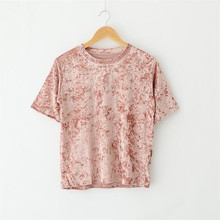 Buy 2017 women fashion velvet t shirt harajuku punk rock tee shirts womens casual short sleeve velvet top summer hipster clothes for $9.99 in AliExpress store