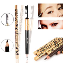 1 PC New Women Lady Double-use Waterproof Brown Black Leopard Cosmetic Makeup Eyebrow Pencil Pen With Brush (China (Mainland))