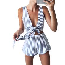 Buy Women Summer Two Piece Set Blue Striped Deep V Neck Bow Tie Sleeveless Crop Top High Waist Shorts Sexy Beach Wear for $9.39 in AliExpress store