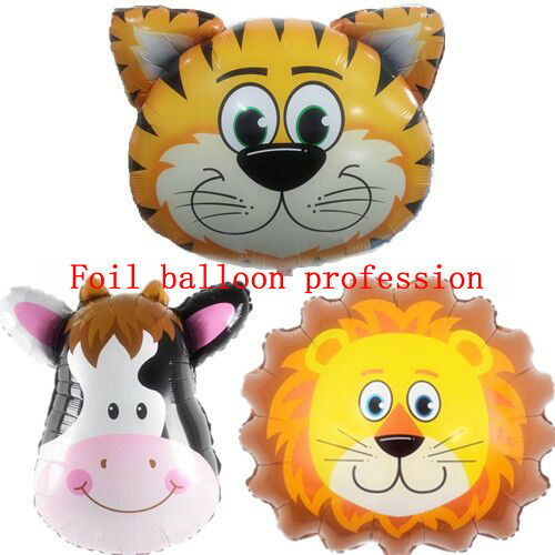 5pcs/lot tiger cow lion head foil mylar balloons animals aluminum ballons birthday hydrogen decoration balloon(China (Mainland))