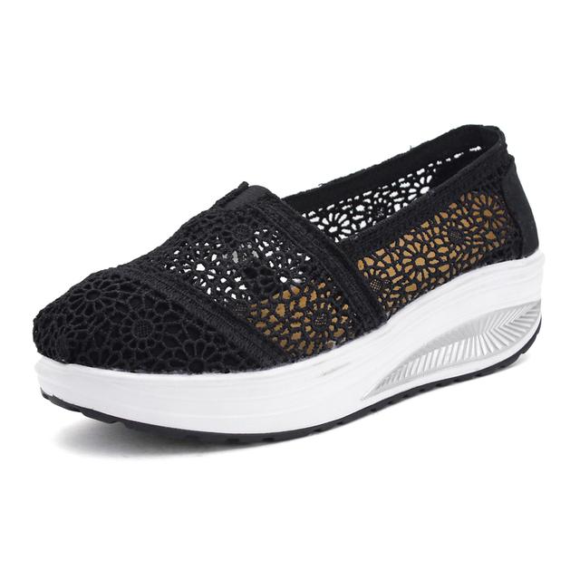 Дамы свободного покроя обувь высота увеличение дышащий Wedgess женщин лодка обувь ...
