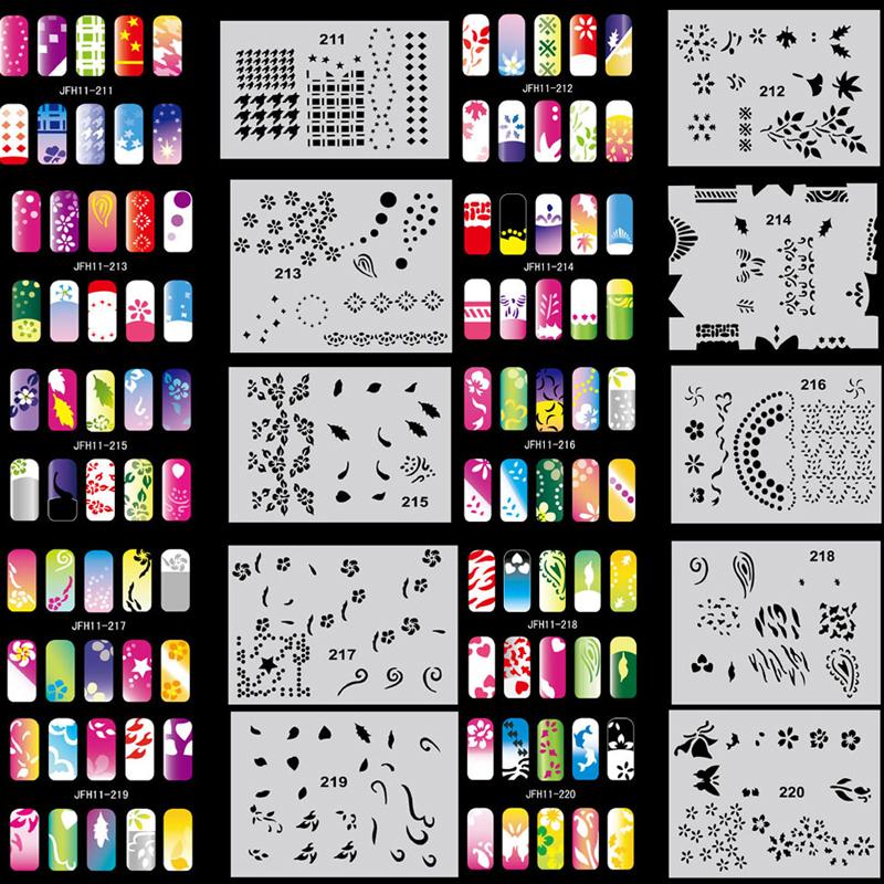 2015 OPHIR Set11 200 Airbrush Nail Art Stencil Design 20 Template Sheets Kit Brush Paint Fashion Nail Stickers Nails Tools_JFH11(China (Mainland))
