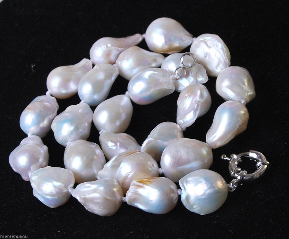 "Hot sale Free Shipping>>>>Charming!Unique 12-16mm Genuine White Akoya Baroque Pearl Necklace 18""(China (Mainland))"