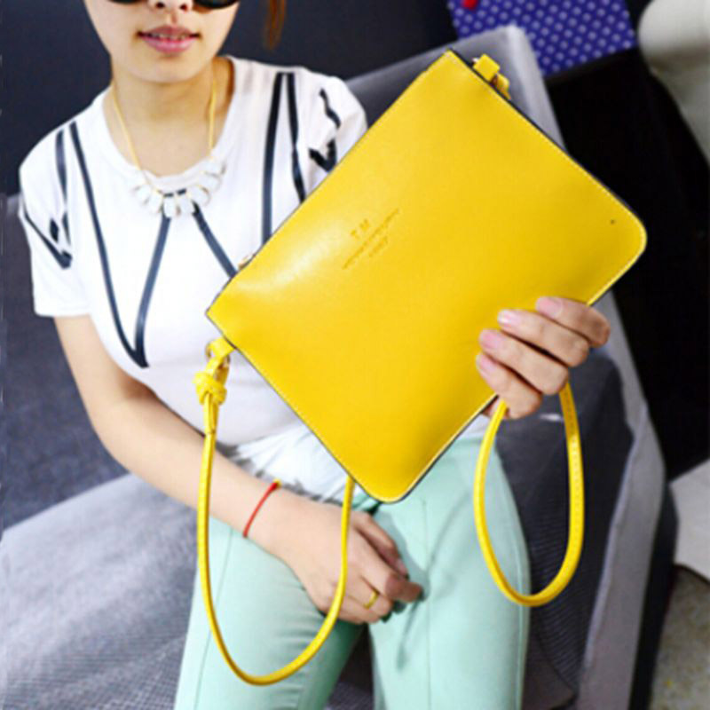 2015 Summer Style Women Leather Handbags Envelope Bag Women Messenger Bags Candy Color Shoulder Crossbody Bags YA80-224(China (Mainland))