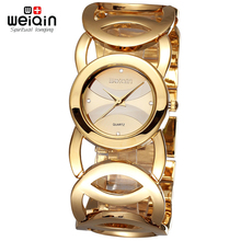 WEIQIN Brand Luxury Crystal Gold Watches Women Fashion Bracelet Quartz Watch Shock Waterproof Relogio Feminino orologio donna