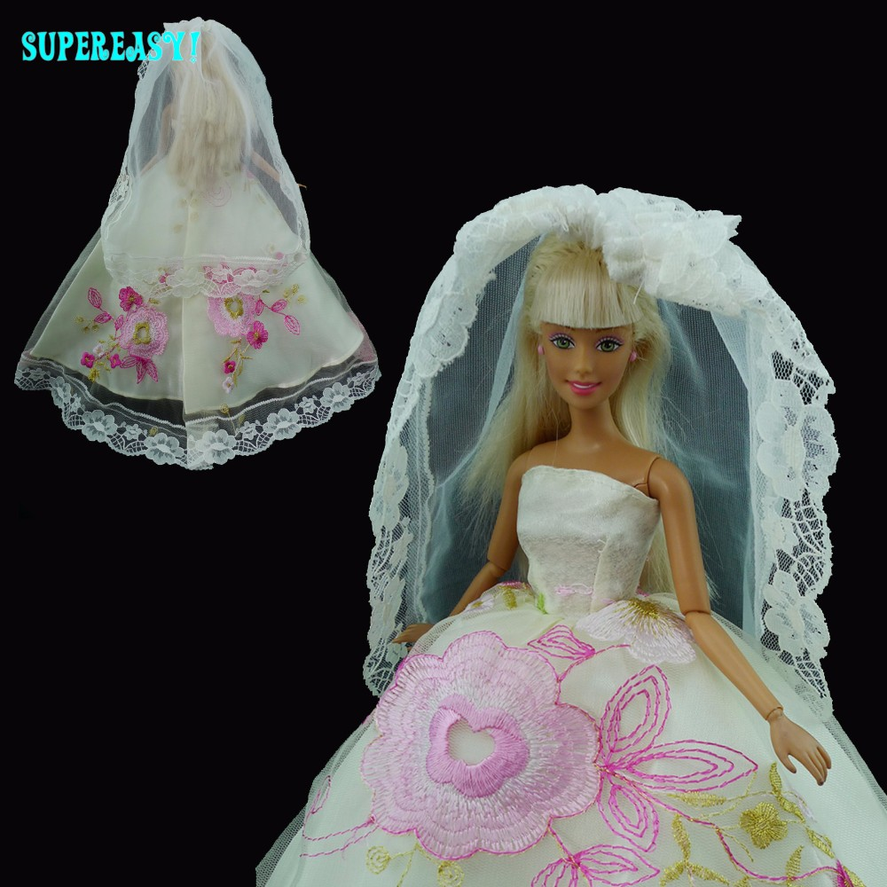 Trend Embroidery Marriage ceremony Get together Costume Strapless Robe Lace Veil Garments For Barbie Doll Equipment Toys Christmas Reward