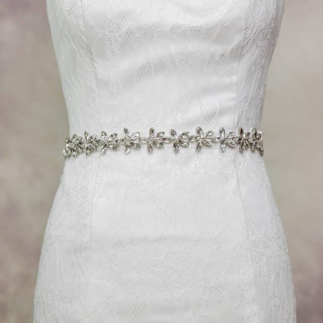 Новое поступление черный / белый / слоновая кость ремни свадьба пояса из бисера кристаллы ...