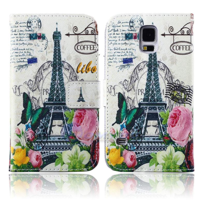 New Stand Wallet Paris Tower Leather Skin Card Slot Flip Cover Case For Samsung Galaxy S5 SV I9600 Butterfly Flower 20 Colors