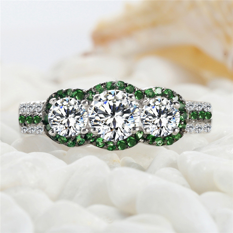 White and Green Cubic Zirconia Rings 925 sterling silver jewelry SSS--3795PLB Size #6 7 8 9 Recommend The new listing Shinning(China (Mainland))