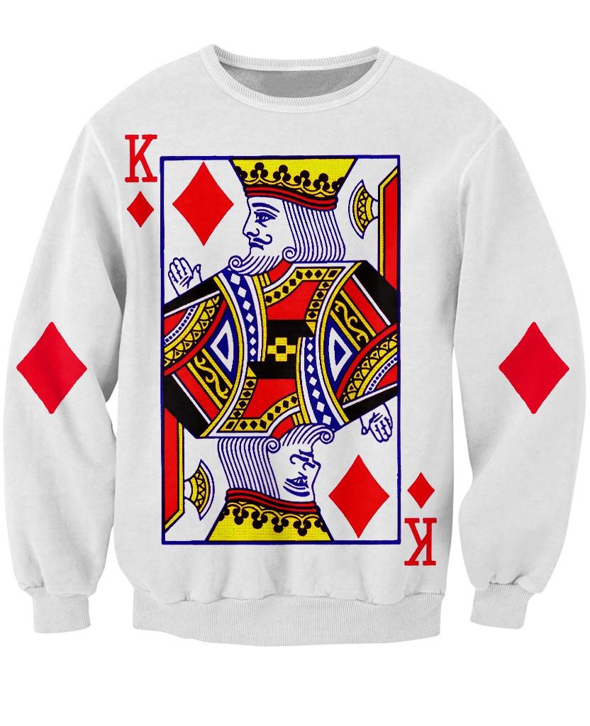 Fashion Clothing Crewneck Outerwear King Of Diamonds Sweatshirt Long Sleeve The Playing card vibrant Jumper Tops Women Men(China (Mainland))