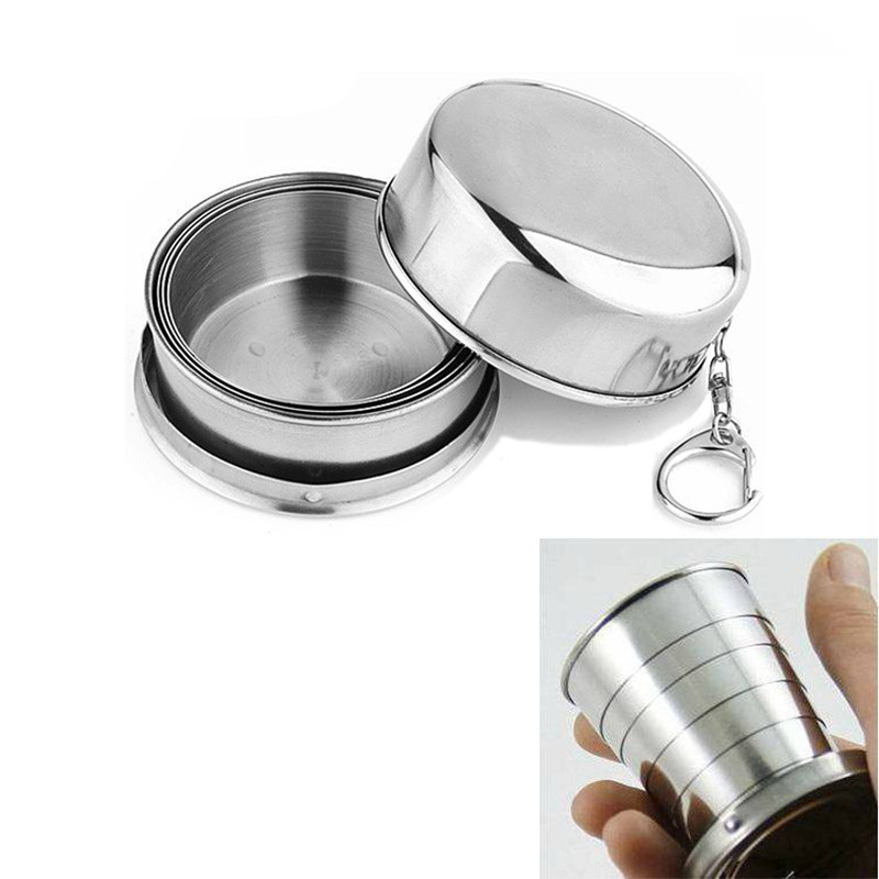 2016 1Pcs Stainless Steel Folding Cup Travel Tool Kit Survival EDC Gear Outdoor Sports Mug Portable for Camping Hiking Lighter(China (Mainland))