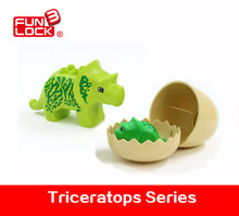 3pcs/set Funlock Duplo Action Figure Dinosaur Big and Baby Triceratops With Egg Kids Educational Toys For 2-4 Years Blocks